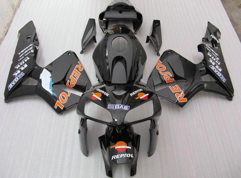 черные зализы ABS прессформы впрыски REPSOL для HONDA CBR600RR 2005 2006 CBR 600RR CBR600 F5 05 06