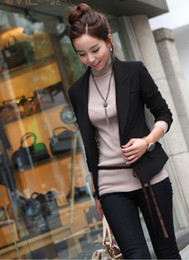 Wholesale Casual Cotton Blazer Womens - Womens coat clothing One Button Lapel Blazer Casual Suits Jacket Outerwear Coats 9509