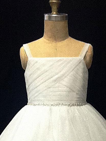 Nieuwe spaghetti-riemen geplooide ruches kralen baljurk thee lengte tule bloem meisje jurk 6664