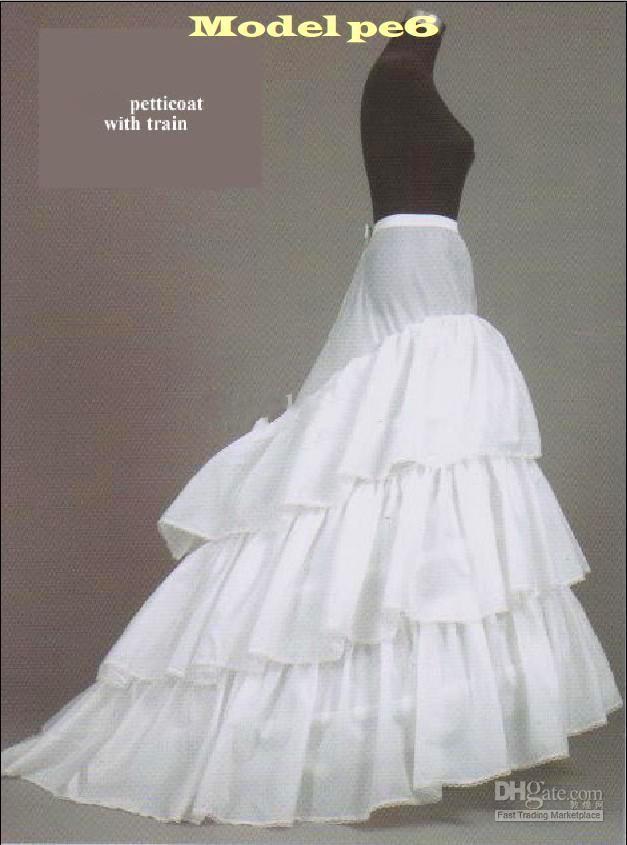 3 Hoop Train Wedding Petticoat Bridal Slip Underskirt Crinoline ...