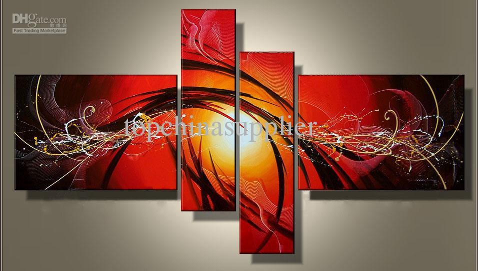 Konst Modern Abstrakt Oljemålning Flera Piece Canvas Art Sätter Passionate 100% Handmålad inredning