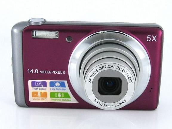 14Mp ccd sensor digital camera with 5 x optical zoom 3 inch touch screen video Camera DC-T500