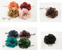 "Wholesale Bridal Clips Brooches - 40pcs 3"" Mix colors Fabric Lady Satin Peony Flower Hair Clips Brooch Bridal Wedding Hawaii Party"