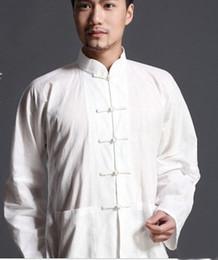 Chinese Kung Fu Jackets Canada - Chinese Men's Jacket Kung fu tai chi Men's Outerwear jacket coat whites S-3XL