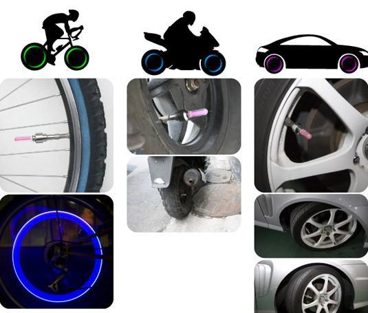 100st * Bilcykel Hot Wheels LED Flash Light Däck Hjulventil Stam Cap Lamp