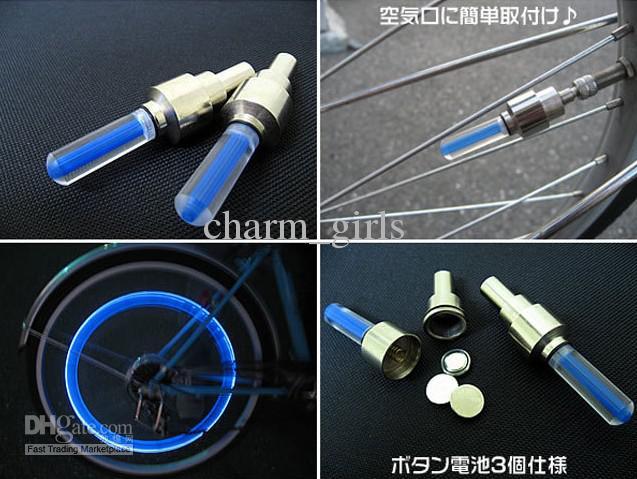 300 pcs * Nouveauté Vélo De Voiture LED Flash Pneu Lumière Roue Valve Stem Cap Lampe Lumière De Roue De Moto