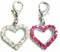 Wholesale Dog Collar Heart Charms - MOQ:20pcs(Mix 2 colors)!Free Shipping!Open-Heart Czech Stones Dog Pendant Charm