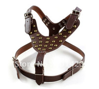 Wholesale Leather Stud Dog Collars - genuine leather bronze stud Leather dog harness
