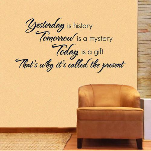 Yesterday Tomorrow Today Wall Quote Decal L Decor Sticker Lettering ...