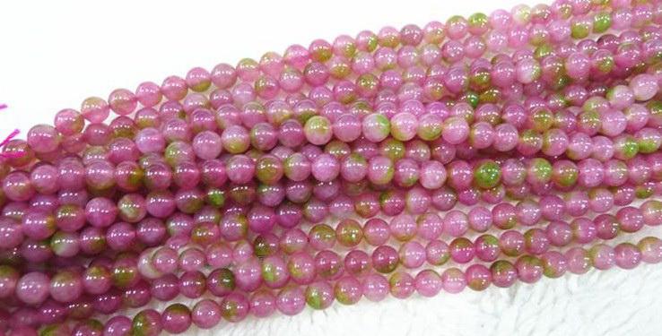 6-14 MM Doğal taş yuvarlak karpuz turmalin kristal gevşek boncuk takı. (150 adet / grup).