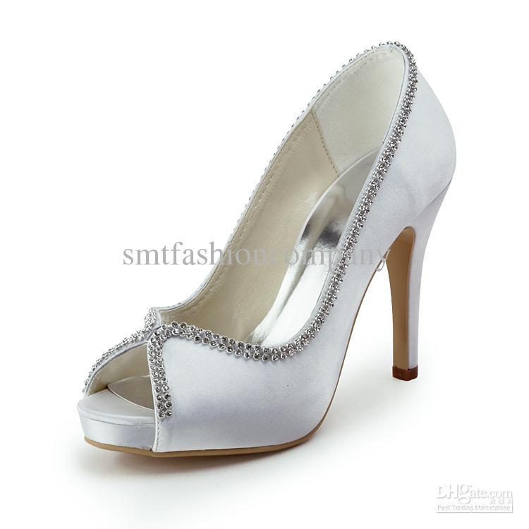 2015 Sexy Ladies Shoes Ep11083 Ip White Peep Toe Beading Satin ...