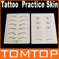 Wholesale Synthetic Skin Tattoo - 2pcs set Body Art Synthetic Flexible Eyebrow Lips Tattoo Designs Practice Skins skin H8709