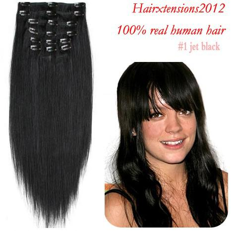 20 clip inon remy human hair extensions extension jet black 1 see larger image pmusecretfo Choice Image