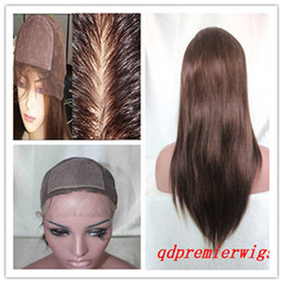 Wholesale Hand Tie Wig Caps - High Quality Silk Base Full lace Wigs 18'' Natural Straight 4# Medium Cap Size 4X4'' Silk Top