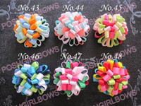 Wholesale Loopy Boutique Hair Bows - free shipping 45pcs 2.5'' fashion loopy puffs hair bows Boutique Girls hair clips bow holder