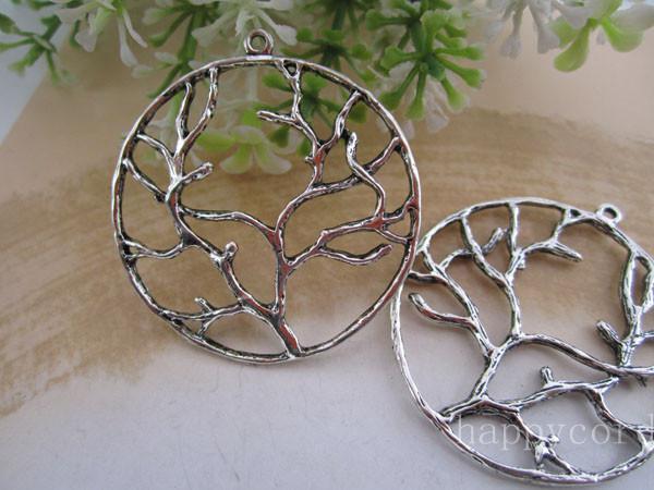 Life Tree Round Charms Hanger 40mm antiek brons en antiek zilver 40pcs / lot