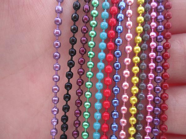 Blandad färg -2.4mm 27inch 13 färg Kulhalsband med matchande kontakt / parti