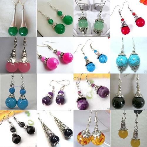 best selling 32pcs 16pair beautiful Tibet silver jade earrings   Multicolor earrings