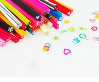 Wholesale Nail Fimo Clay - 100pcs Nail Art Fimo Canes Rods Decoration canes polymer clay nail art Stickers cane fruit