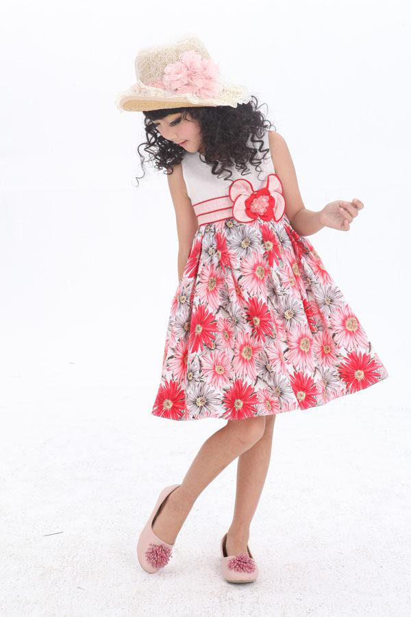 Cute floral bow 100% cotton sunflower girl dress round neck sleeveless girl dresses 6pcs a lot
