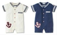Wholesale Baby Navy Tie - Baby boy short sleeve romper navy tie design bodysuits baby summer cotton jumpsuits boy cool rompers