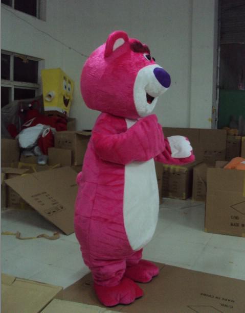 fourrure adulte rose lotso ours mascotte costumes dessin animé tenue livraison gratuite de haute qualité
