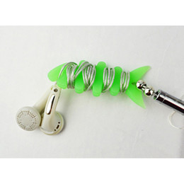 Wholesale Shaped Earphone - Fishbone shape cable bobbin winder earphone holder Silicon rubber 6.3cm*2.8cm free HKpost 100PCS