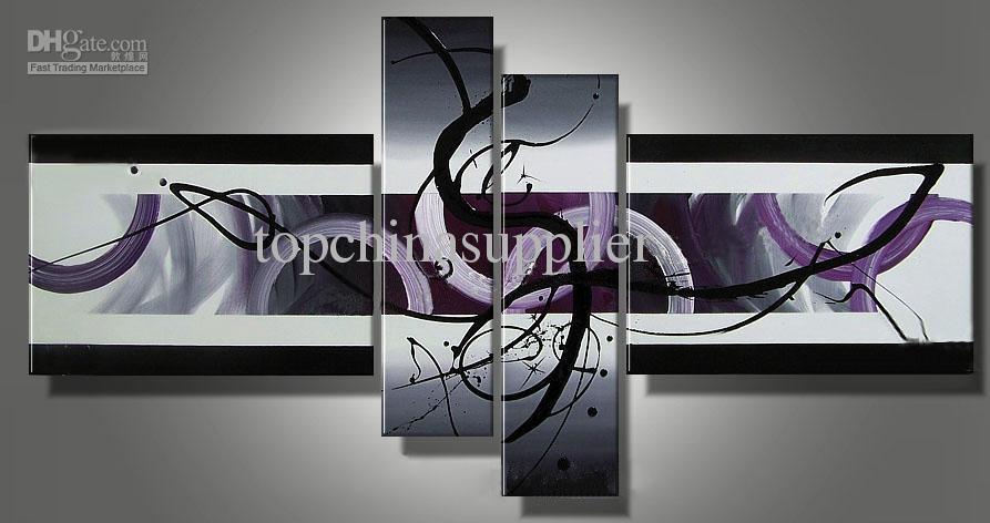 Art Moderne Abstraite Peinture à L'huile sur Toile Magnifique Salon Décor 60x40CMx2 20x75CMx2 à Vendre