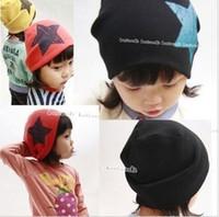 gorras de calavera infantil al por mayor-5 unids Big Star Design Gorro de algodón Sombrero Kid's Skull Cap Toddler Infant Hat Accesorios para niños
