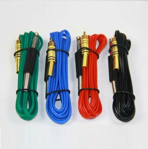 Black Silica Gel RCA Tattoo Power Clip Cords For Ink Machine Guns Needle Kits Supply