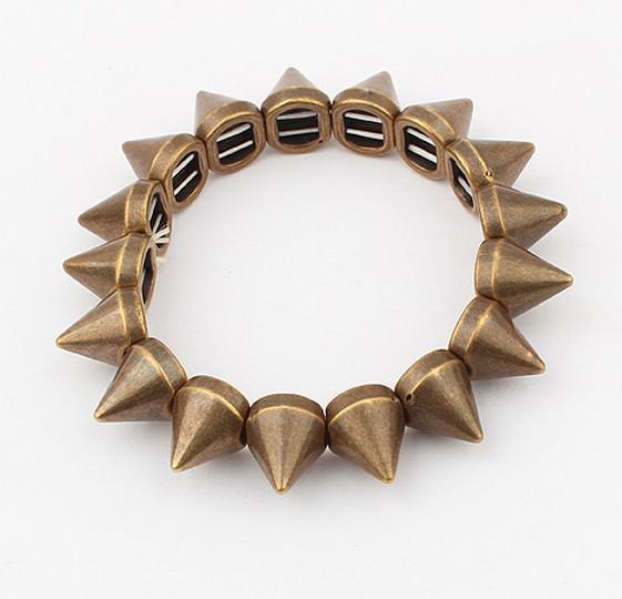 Unisex Rock Punk Style Gold Silver Bronze Gun Black Tone Studs Rivet Stretch Bracelet