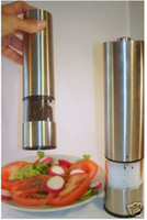 Wholesale High Mills - HOT sale STAINLESS STEEL ELECTRIC PEPPER MILL GRINDER W LIGHT 1pcs High quality By Post Air Mail