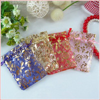 Wholesale Red Favor Bag 12cm - Bronzing Rose yarn bag   gift bags   jewelry bag   candy hi egg bags   goodie bags 9*12CM 285