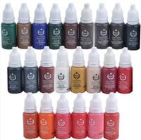 микропигментные косметические цвета оптовых-Лот из 30 бутылок Перманентные краски для макияжа Цвета Ассорти Bio-Touch Микро-тату-пигмент для макияжа Косметика 15 мл Косметические наборы