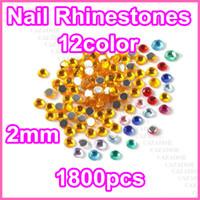 Wholesale Nail Decoration Rhinestones - Hot selling !! 24000 pcs Nail Art Tips Rhinestones Glitter Round 2.0mm 12 Color Decoration #C24