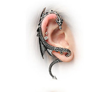 Dragons Ear Cuff Stud Earrings Vintage Bronze Silver Wind Temptation Antique Punk