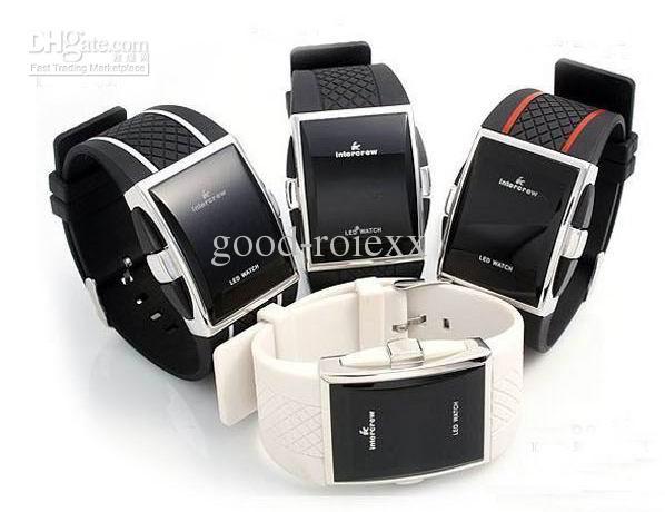 Unisex 한국 패션 Intercrew Led 전자 시계 여성 숙녀 망 남자 고무 스포츠 시계
