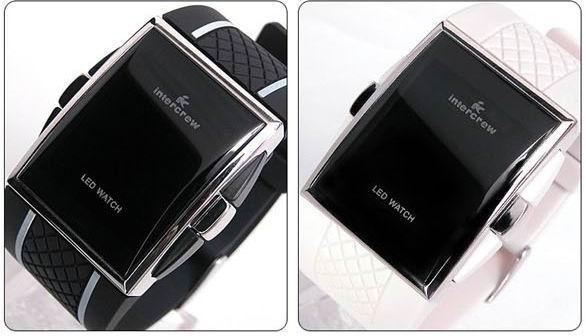 Unisex Korea Fashion Intercrew Led Electronic Watch Kvinnors Lady Mens Gummi Mäns Sport Klockor