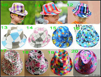 Wholesale Canvas Kids Fedora - Baby Canvas Fedora Hat Baby Jazz Cap Kids Top Hat Baby Fedoras Baby Dicers Children Headgear
