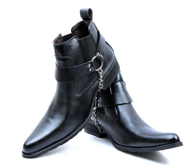 Men'S High Top Leather Shoes Ankle Boots,Cool Outdoor Leather Punk ...