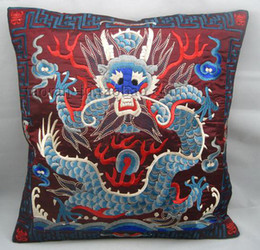 Wholesale Yellow Decorative Pillow Covers - Creative Embroidered Pillow Cases 18 x 18 High Quality Chinese Style Dragon Pattern Cushion Covers for Chair Couch Car Decorative