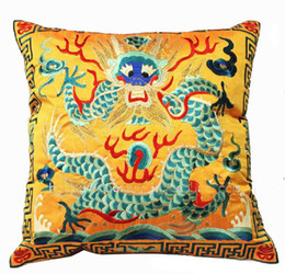 Wholesale Vintage Styling Chairs - Vintage Gold Pillow Cases 18 inch High End Chinese Style Embroidered Dragon Pattern Cushion Covers for Chairs Sofas Home Decoration