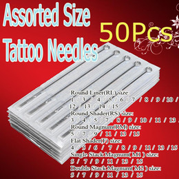 Wholesale tattoo needles kit - 50x Pre-made Sterilized Tattoo Gun Needles Assorted Tattoo Kits Supply For Beginner & Artists Pro