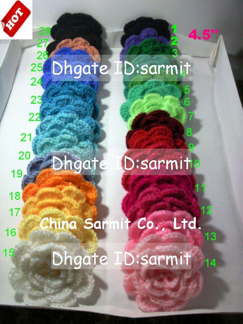 50 unids / lote 4.5-5.5 '' hecho a mano DIY flores de ganchillo Apliques de costura Arcos Arcos Artesanía Artificial Envío Gratis Crochet Big diadema flores