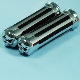 """Wholesale Motorcycle Grips Skull - Free Shipping NEW Motorcycle Skull ChroMe Handlebar Hand Grips 7 8"""""""