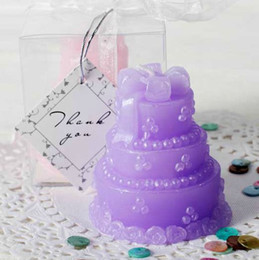 Wholesale Packing Candle Gift - 2012 wedding&party Favors Candle Gift Pack 12pcs lot 4color pink purple white blue mix cake