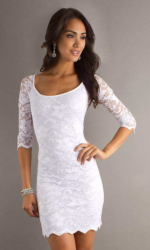 Hot Sale Sleeve Square Lace Simple Sexy Modest Short