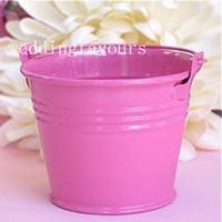 Wholesale Hot Pink Pails - FREE SHIPPING 100PCS Hot Pink Color Mini Tin Pails Wedding Favors Mini Pails Tin Candy Box Sweet Package Party Decors