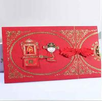 lustige weihnachtskarten großhandel-Chinesische Einladungs-Karten-rote Hochzeits-Einladungen mit Umschlag 100Pcs / Lot FFF