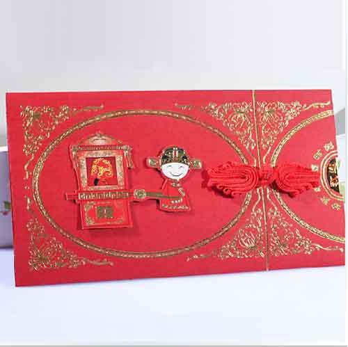 Çin Davetiye Kartları Zarf Ile Kırmızı Düğün Davetiyeleri 100 Adet / grup FFF
